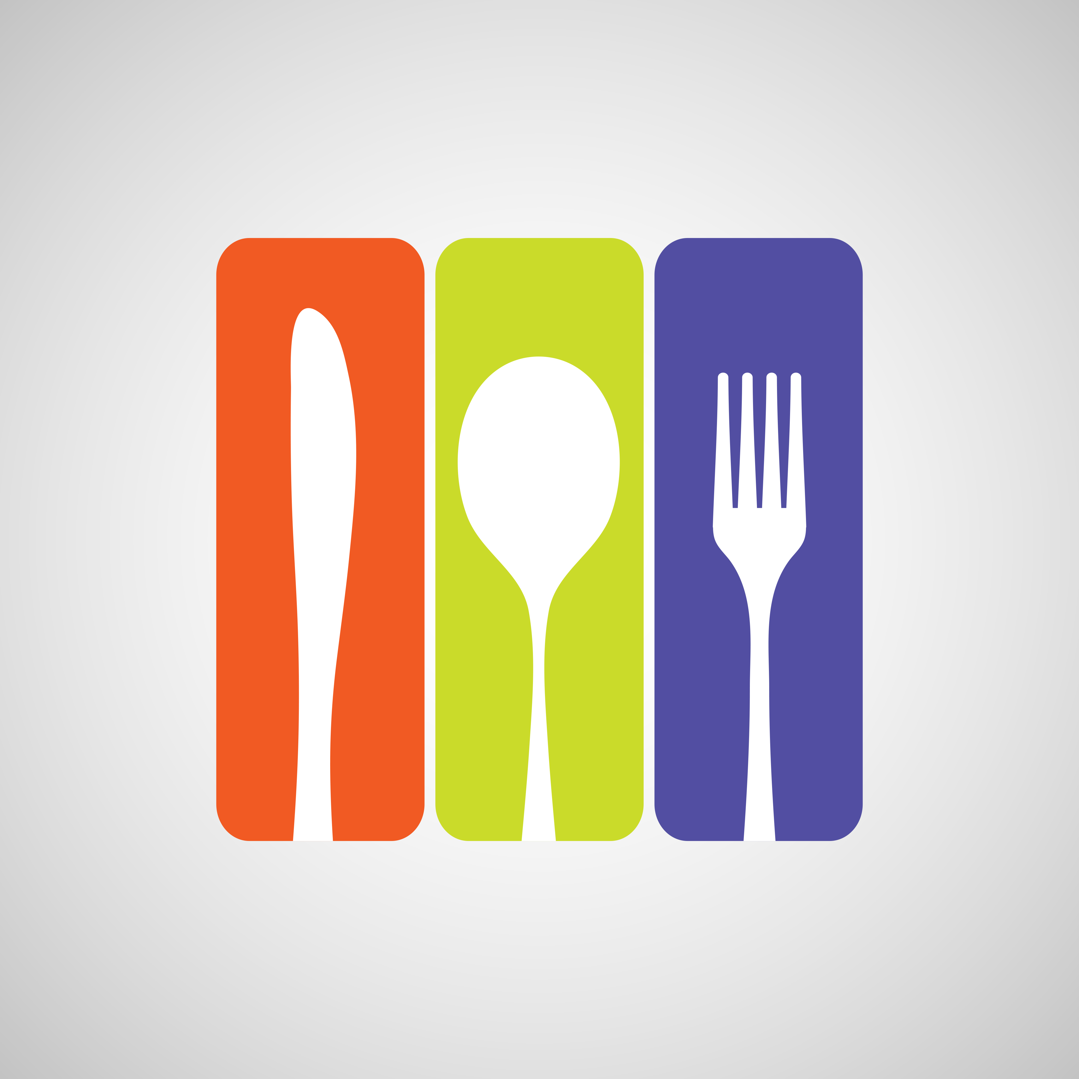 Silhouette of knife, fork and spoon with color rectangles. eps10